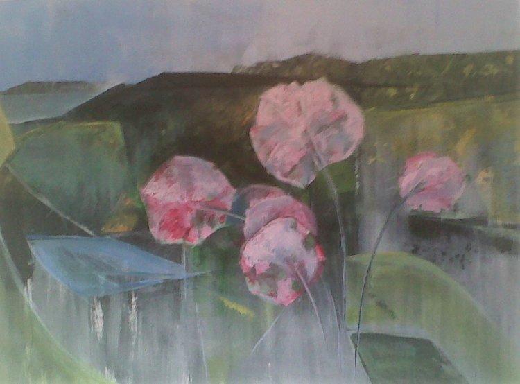 Poppies in landscape