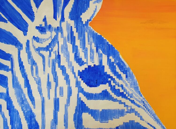2020 Zebra head unframed 1050x750
