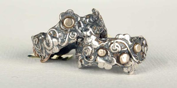 Silver and Gold Flower Rings