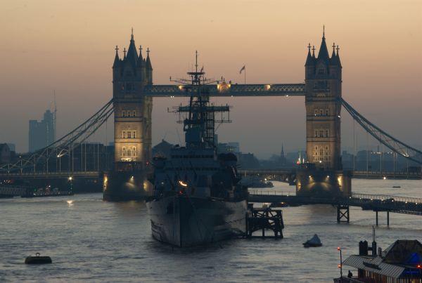 Dawn on HMS Belfast