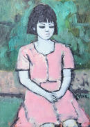 Young Girl in Pink Dress SOLD