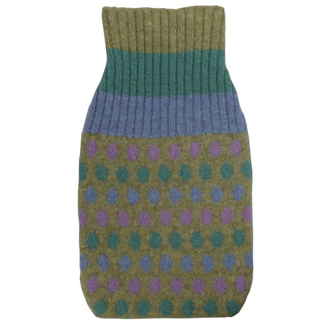Hand machine knitted lambswool hot water bottle cover