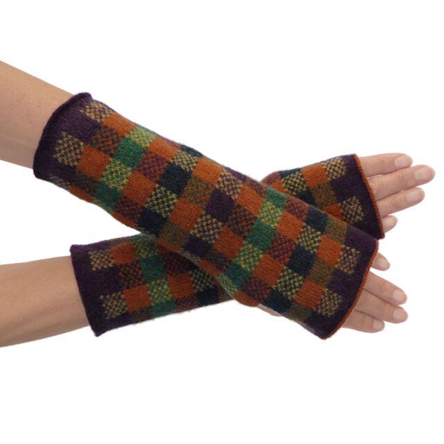 Hand machine knitted lambswool fingerless mittens