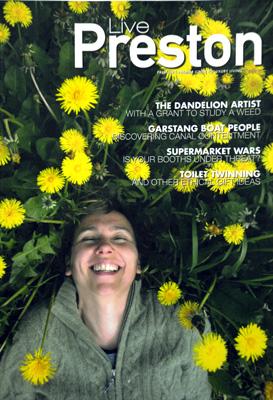 Artist Rebecca Chesney on the front cover of 'Live Preston' magazine.