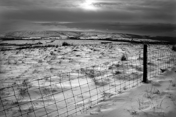 Trough of Bowland in the snow, Lancaster.