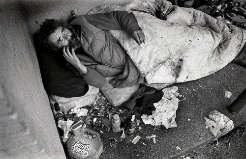 Homeless George on Christmas morning. Sadly he died a few weeks later.