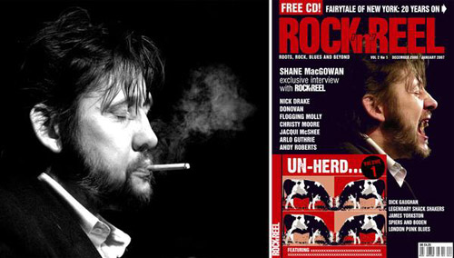 Shane Macgowan. Front cover of Rock n Reel Magazine.