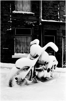 Motorbike in snow,Lancaster.