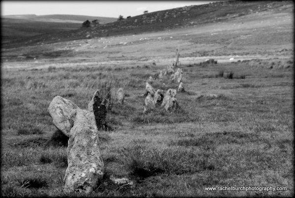Drizzlecombe stone row Dartmoor