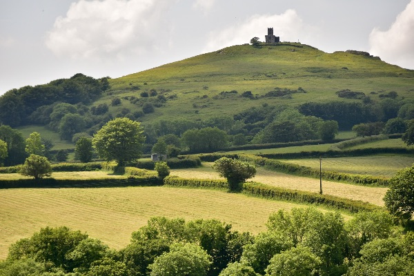 Brentor church and hay field June 2017