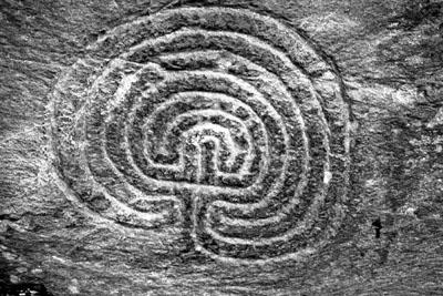 Labyrinth Rock Carving, Cornwall.
