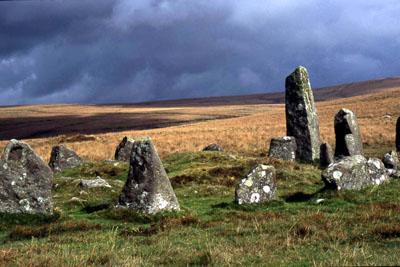 Stone row at Down Tor, Dartmoor.