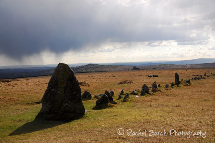Merrivale stone row with storm passing