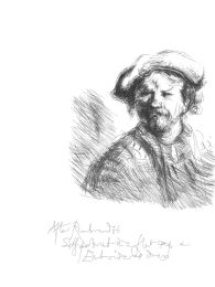 Drawn in front of a Rembrandt etching