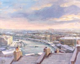 Bristol docks under snow [acrylic]