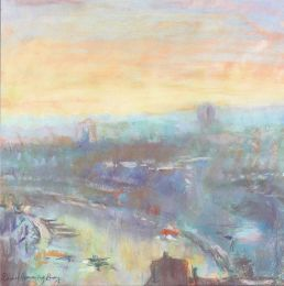 Morning light on Bristol docks [pastel]