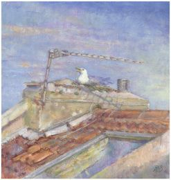 Bristol rooftop in sunlight [oil] Private Collection
