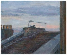 Bristol rooftop at sunset [gouache]