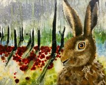 Hare in the forest looking left