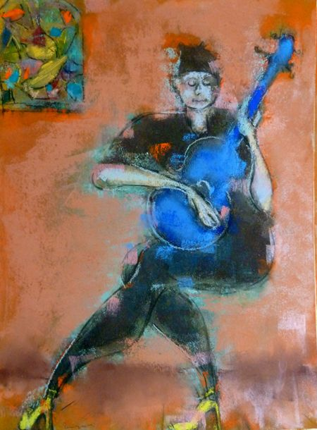 girl with a blue ukelele