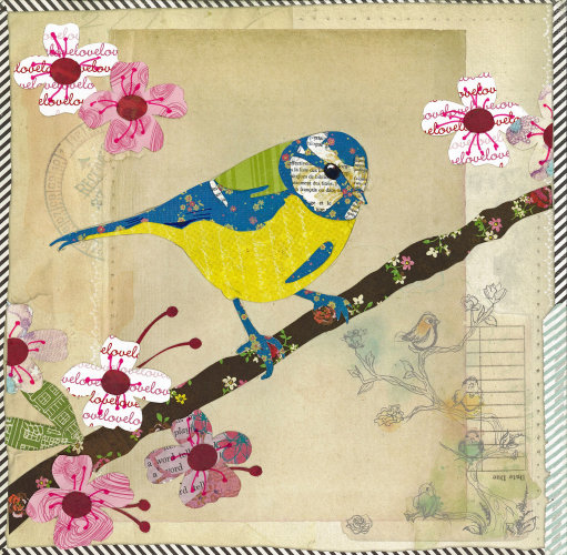 Blue Tit - Animal Collage by Clare Thompson