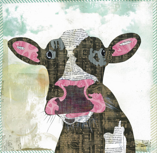 Cow- Animal Collage by Clare Thompson