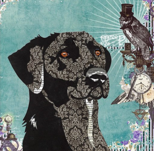 Dog - Animal Collage by Clare Thompson