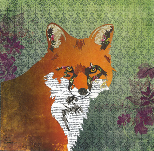 Fox - Animal Collage by Clare Thompson