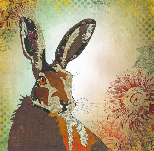 Hare - Animal Collage by Clare Thompson