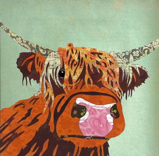 Highland Cow - Animal Collage by Clare Thompson
