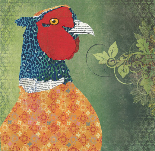 Pheasant - Animal Collage by Clare Thompson