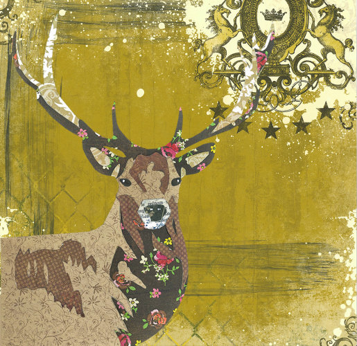 Stag - Animal Collage by Clare Thompson