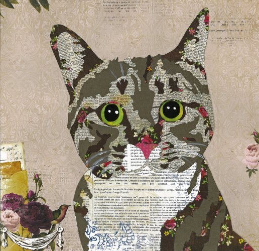 Tabby Cat - Animal Collage by Clare Thompson