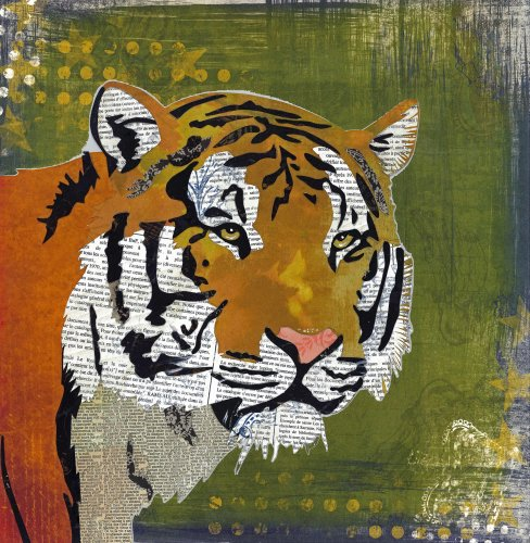 Tiger - Animal Collage by Clare Thompson