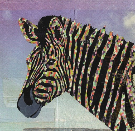 Zebra - Animal Collage by Clare Thompson
