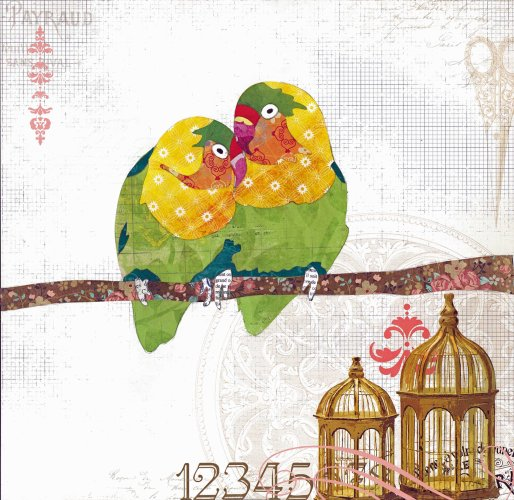 Love Birds - Animal Collage by Clare Thompson