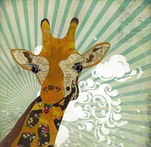 Giraffe - Animal Collage by Clare Thompson