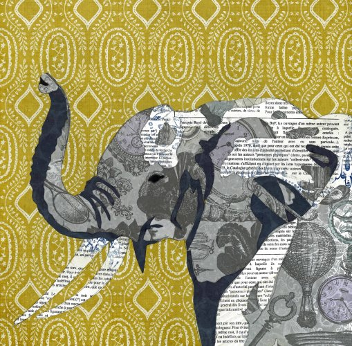 Elephant - Animal Collage by Clare Thompson