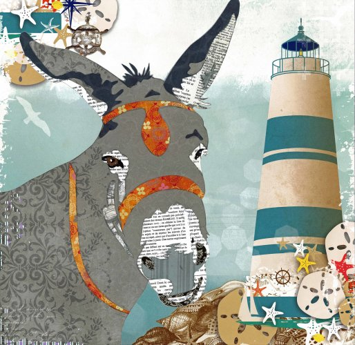 Donkey - Animal Collage by Clare Thompson