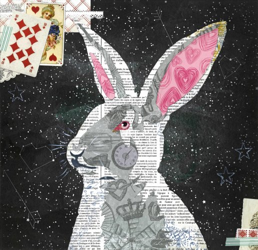 White Rabbit - Animal Collage by Clare Thompson