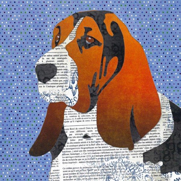 Bassett Hound - Animal Collage by Clare Thompson