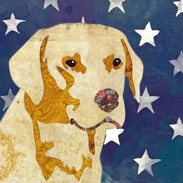 Golden Labrador - Animal Collage by Clare Thompson