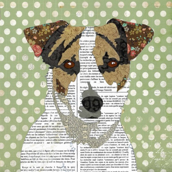 Jack Russell - Animal Collage by Clare Thompson