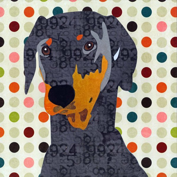 Doberman - Animal Collage by Clare Thompson