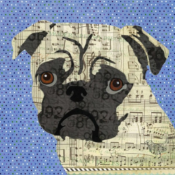 Pug - Animal Collage by Clare Thompson