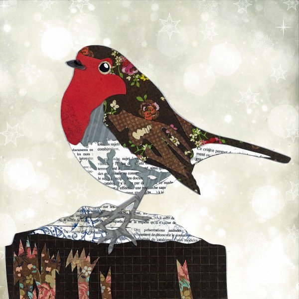 Robin - Animal Collage by Clare Thompson