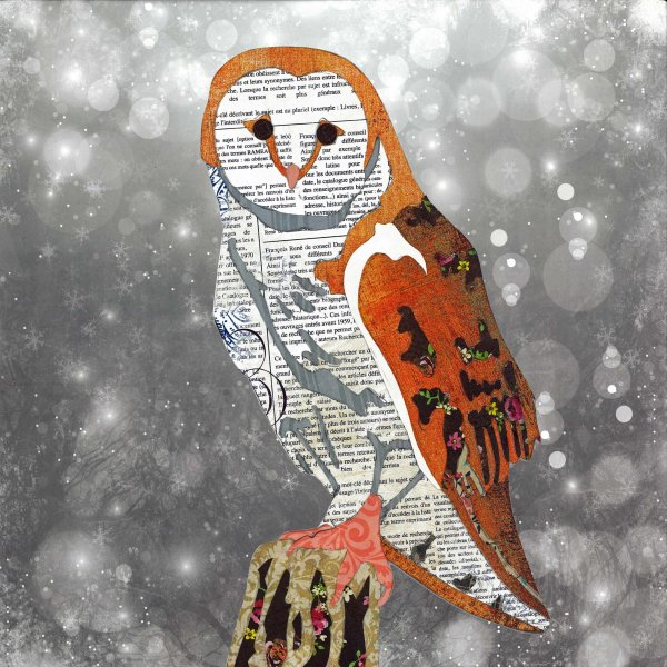 Owl - Animal Collage by Clare Thompson