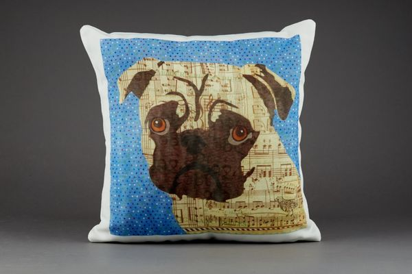 Pug Cushion by Clare Thompson