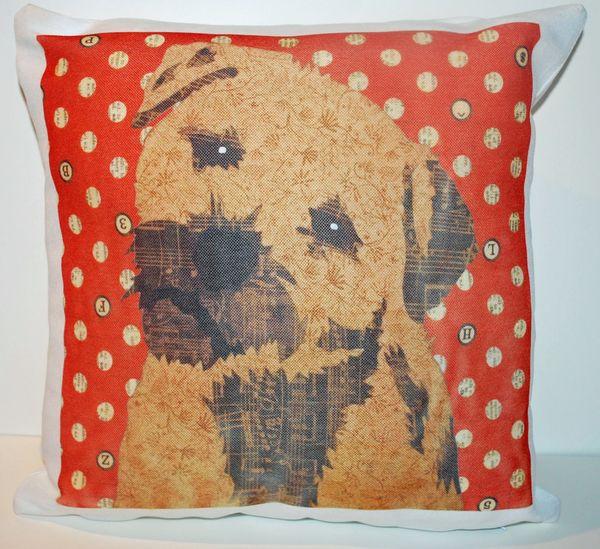 Border Terrier Cushion by Clare Thompson