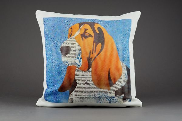 Basset Hound Cushion by Clare Thompson